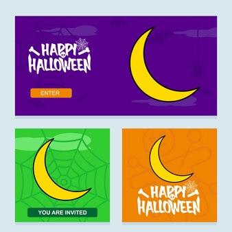 Conception d'invitation d'halloween heureux avec le vecteur de la lune