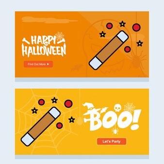 Conception d'invitation happy halloween avec le vecteur de bâton magique