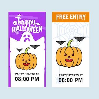 Conception d'invitation happy halloween avec vecteur de citrouille