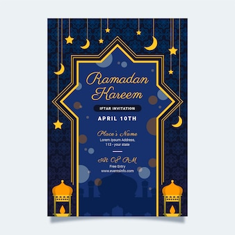 Conception d'invitation iftar design plat