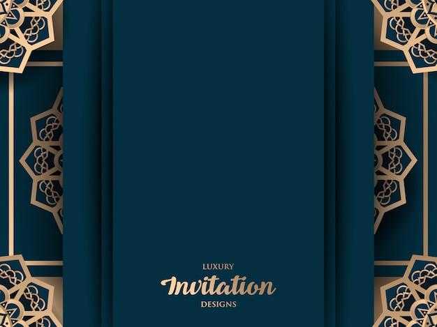 Conception d'invitation de luxe avec ornement or mandala