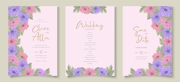 Conception d'invitation de mariage avec un bel ornement de fleur de chrysanthème