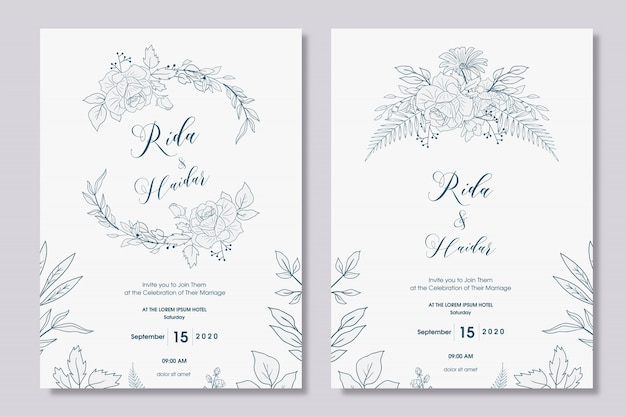 Conception d'invitation de mariage floral dessiné à la main