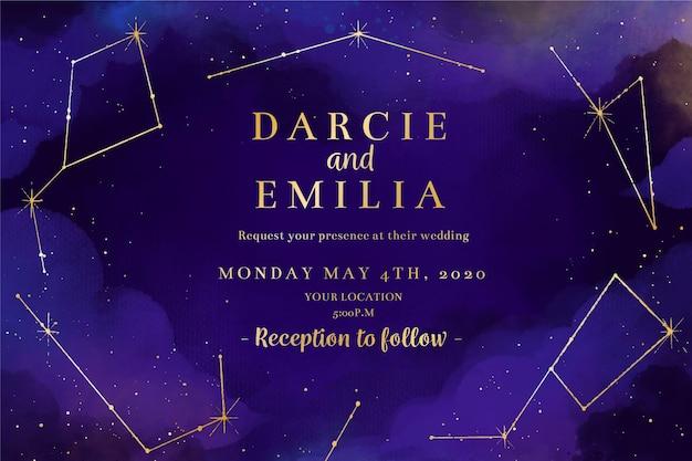 Conception d'invitation de mariage galaxie aquarelle