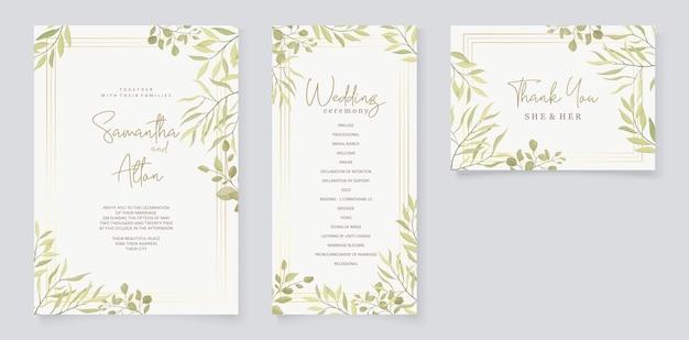 Conception d'invitation de mariage avec ornement de feuille