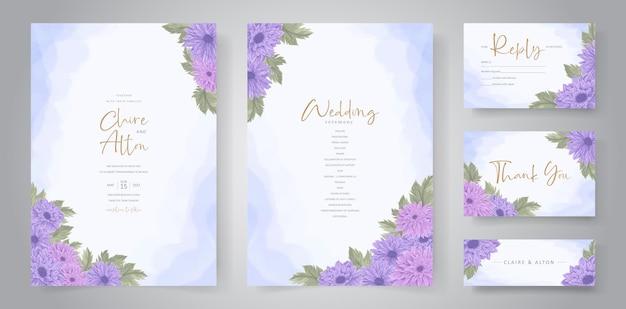 Conception d'invitation de mariage avec ornement de fleur de chrysanthème coloré