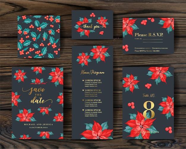 Conception d'invitation de paquet avec le gui. collection de cartes de voeux.