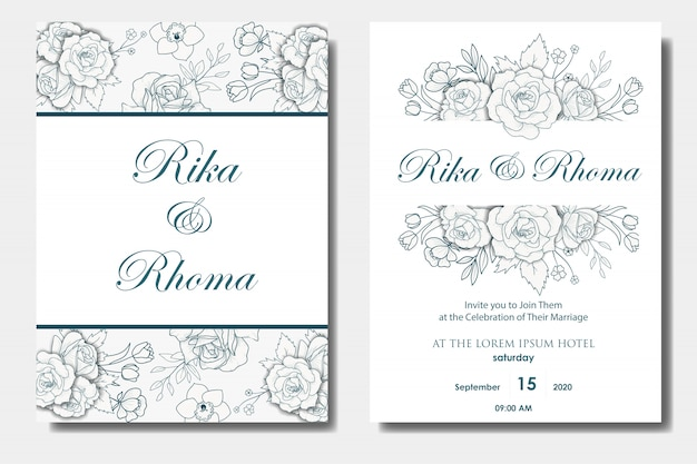 Conception des invitations de mariage floral dessiné à la main