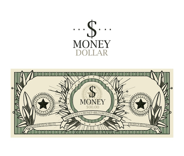 Conception isolée de billet d'un dollar