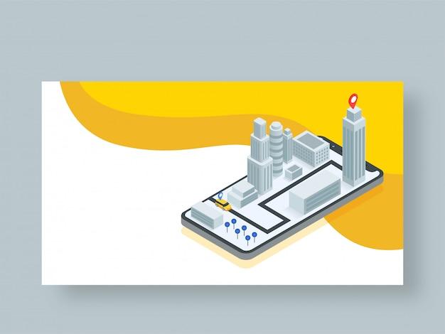 Conception isométrique de l'application de service de taxi en ligne.