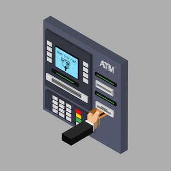 Conception isométrique du guichet automatique avec la main. insertion de la carte de crédit au gab. utilisation du terminal automatique. illustration. isolé