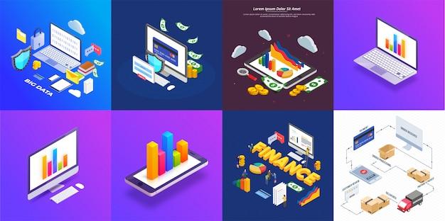 Conception isométrique avec des infographies colorées