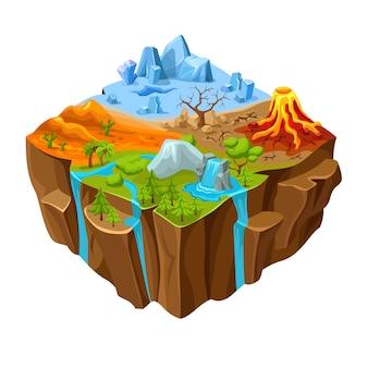 Conception isométrique de jeu d'ordinateur de paysage au sol