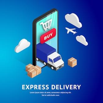 Conception isométrique en ligne de livraison express avec téléphone