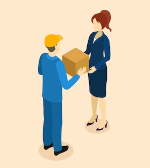 Conception isométrique de la livraison des marchandises au client