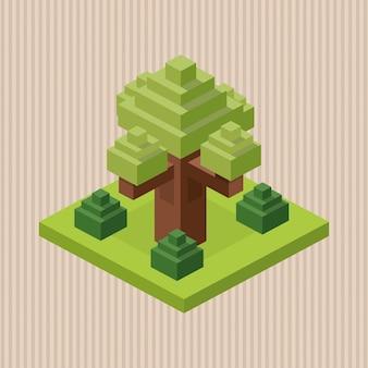 Conception isométrique. la nature. eco concept, illustration vectorielle