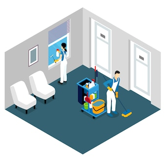 Conception isométrique de nettoyage professionnel