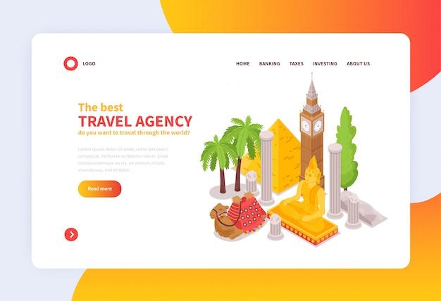 Conception isométrique de la page d'accueil du concept d'agence de voyage internationale en ligne avec des attractions touristiques célèbres