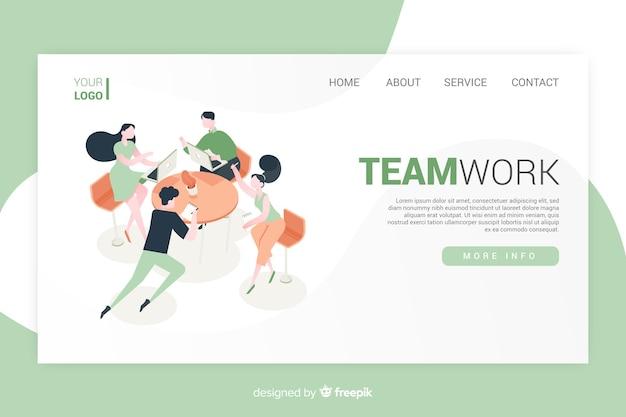 Conception isométrique de la page de destination du travail d'équipe
