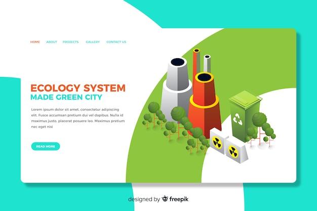 Conception isométrique de la page de destination de l'écologie