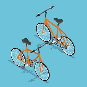 Conception isométrique plat 3d vélo orange transport écologique