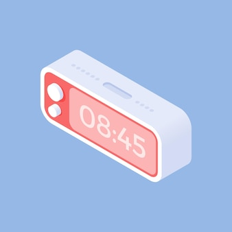 Conception isométrique simple de l'illustration avec horloge numérique tridimensionnelle contemporaine indiquant l'heure de se lever le matin isolé sur fond bleu