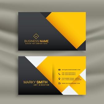 Conception jaune et noir minimale carte de visite