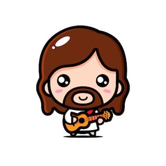 Conception de jésus jouant de la guitare