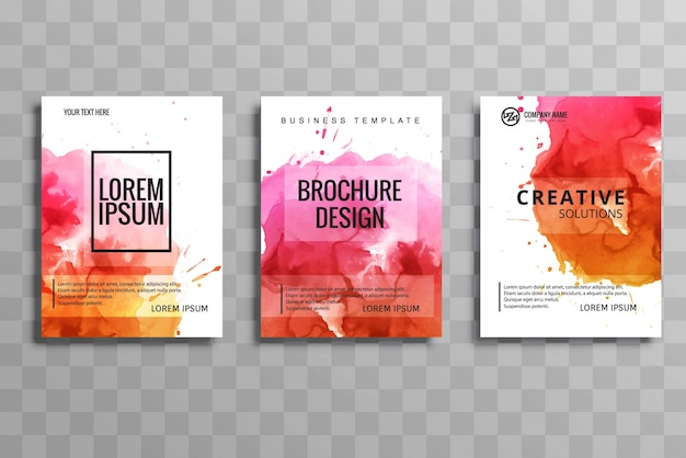 Conception de jeu de brochure d'affaires aquarelle abstraite