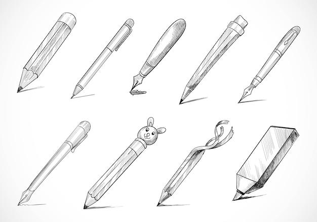 Conception de jeu de croquis de stylo papeterie dessinés à la main