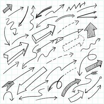 Conception de jeu de flèche doodle géométrique dessinés à la main