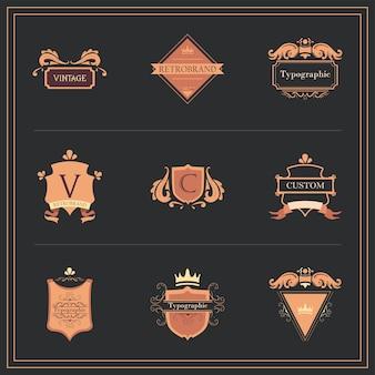 Conception de jeu d'icônes d'éléments étiquettes vintage de thème rétro et décoratif