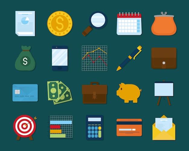 Conception de jeu d'icônes de finances personnelles