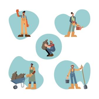 Conception de jeu d'icônes de gens de ferme, récolte de l'agriculture de mode de vie agronomie et illustration du thème de l'agriculture