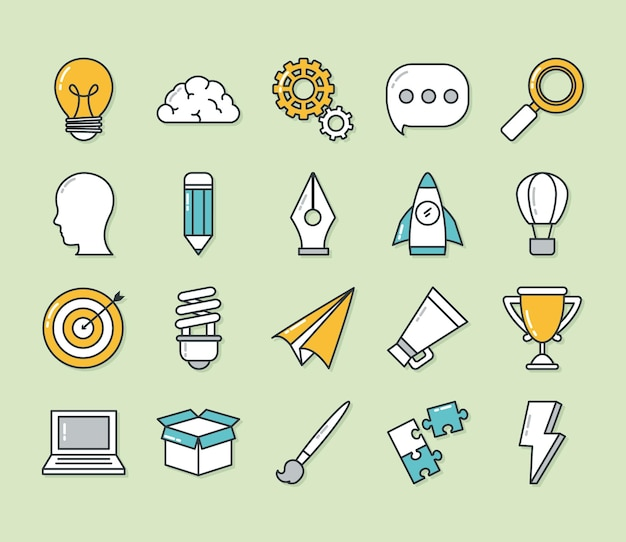 Conception de jeu d'icônes de grande idée