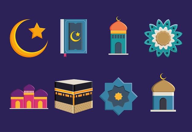 Conception de jeu d'icônes de hajj islamique