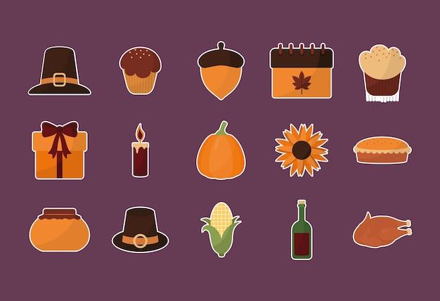 Conception de jeu d'icônes happy thanksgiving day 15, saison d'automne