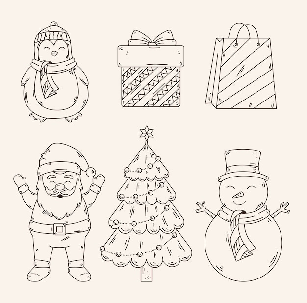 Conception De Jeu D'icônes Joyeux Noël, Saison D'hiver Et Décoration Vecteur Premium