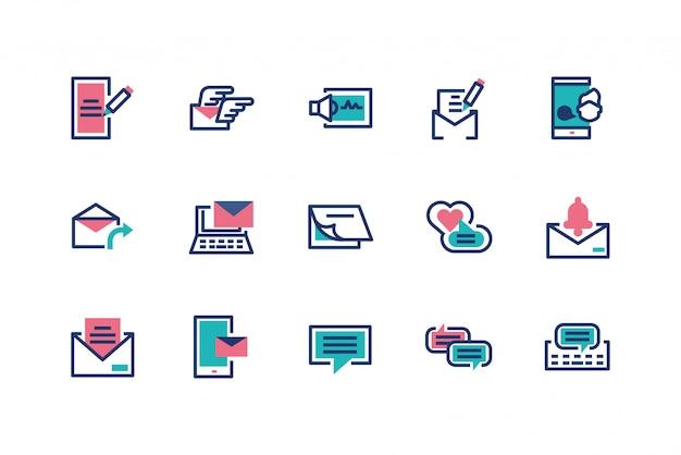 Conception de jeu d'icônes de messages isolés