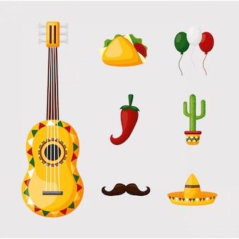 Conception de jeu d'icônes mexicain isolé