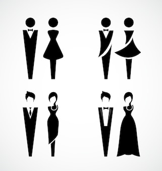 Conception de jeu d'icônes noires mâles et femelles