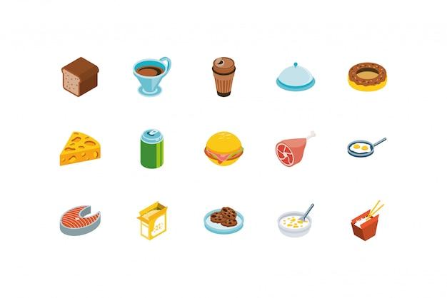 Conception de jeu d'icônes de nourriture isolée