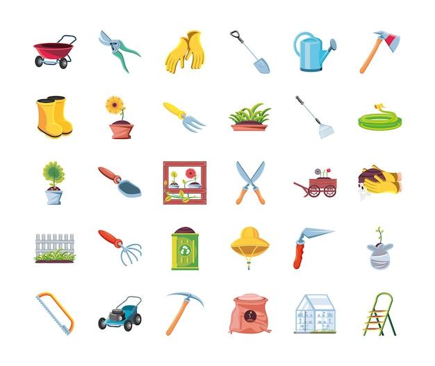 Conception de jeu d'icônes de style 30 détaillé de jardin, plantation de jardinage et nature