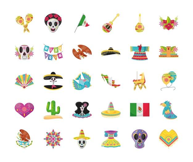 Conception de jeu d'icônes de style détaillé mexicain 30, culture mexicaine