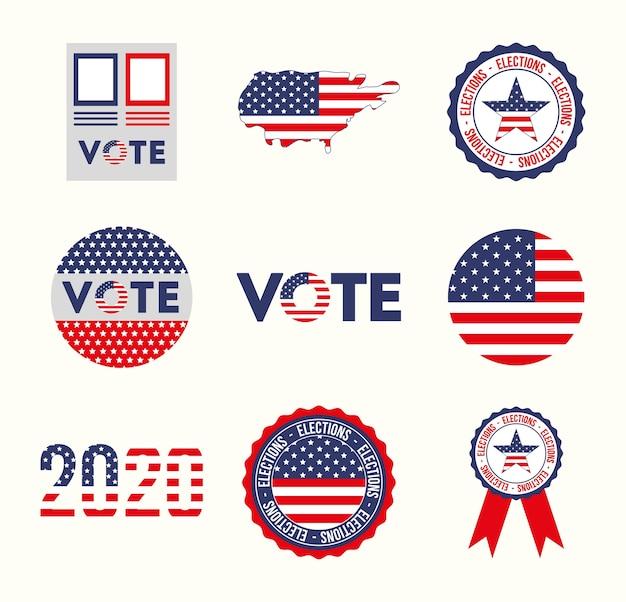 Conception de jeu d'icônes usa et vote, gouvernement d'élection présidentielle et thème de campagne