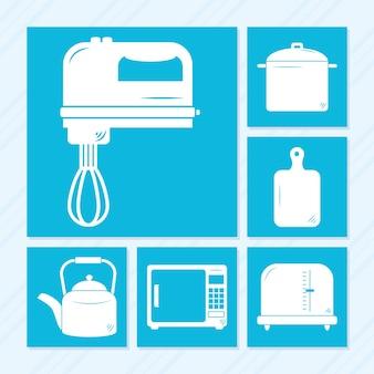 Conception de jeu d'icônes d'ustensiles de cuisine