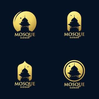 Conception De Jeu De Logo Art Architecture Mosquée Or Vecteur Premium