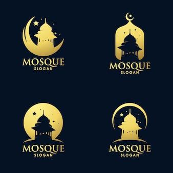 Conception de jeu de logo art architecture mosquée or