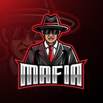 Conception de jeu mascotte logo mafia