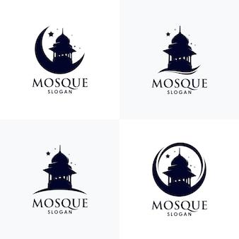 Conception De Jeu De Modèle De Logo Mosquée Islamique Vecteur Premium